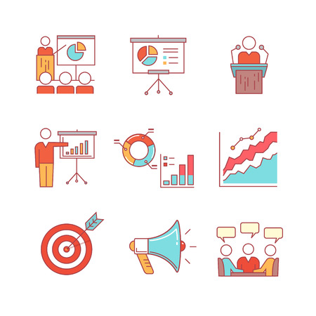 lecture hall: Business presentation, education, seminar, lecture, speech analytics and statistics thin line icons set. Modern flat style symbols isolated on white for infographics or web use.