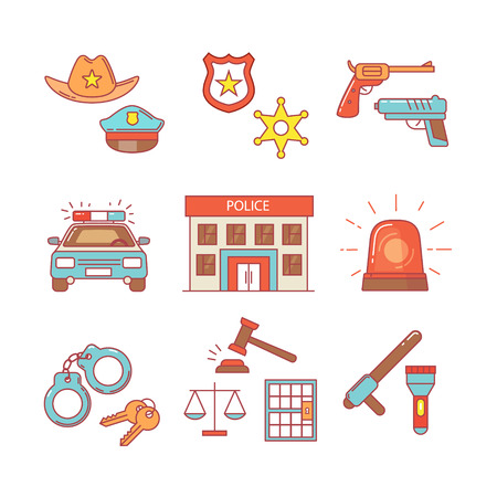 enforcement: Police building, car, court and law enforcement thin line icons set. Modern flat style symbols isolated on white for infographics or web use. Illustration