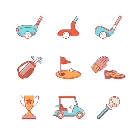 wooden shoes: Golf sport and equipment thin line icons set. Clubs, flag and green hole, trophy. Modern flat style symbols isolated on white for infographics or web use.