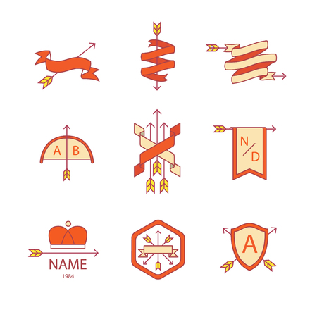 coat of arms  shield: Arrow ribbon   emblem thin line icons set. Illustration