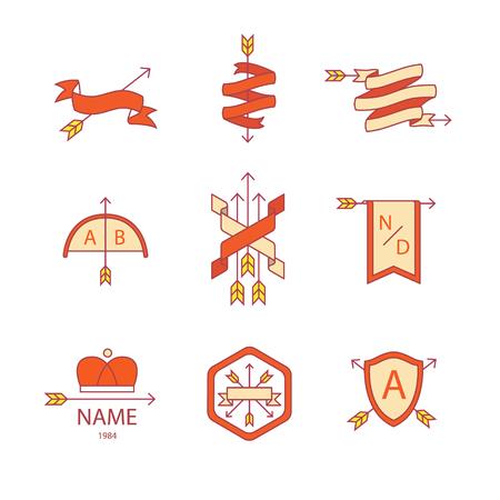 armorial: Arrow ribbon   emblem thin line icons set. Illustration