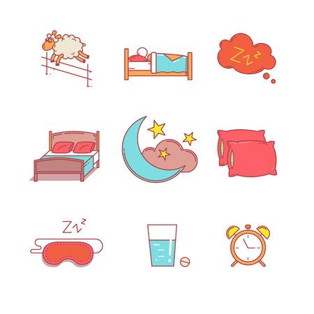 dormir: Dormir, descansar hora de acostarse y de línea delgada cama iconos conjunto. Símbolos de estilo plana modernos aislados en el blanco para la infografía o uso de la Web. Vectores