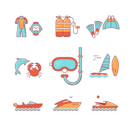 chorro: Buceo y equipo de buceo libre, barcos iconos de línea delgada. Símbolos de estilo plana modernos aislados en el blanco para la infografía o uso de la Web. Vectores