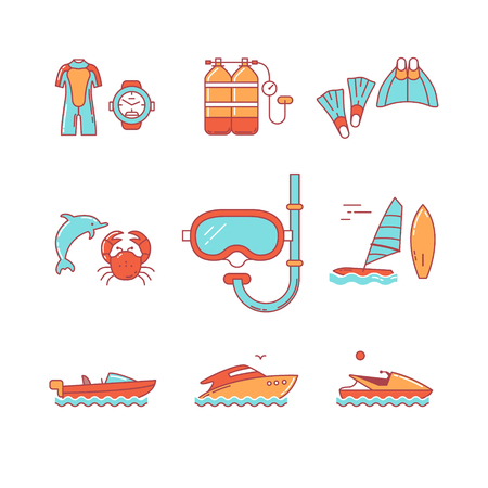 lobster boat: Diving and freediving equipment, boats thin line icons set. Modern flat style symbols isolated on white for infographics or web use.