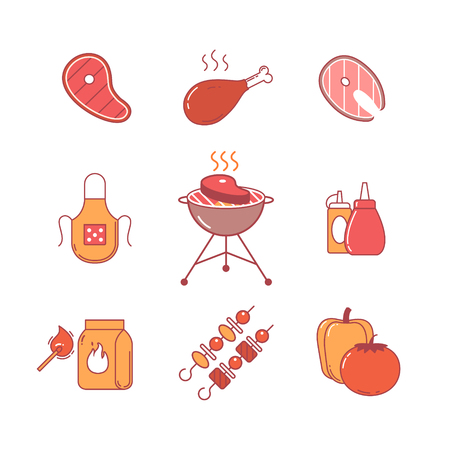 meat grill: Barbecue and outdoor meat and fish steak grill frying thin line icons set. Modern flat style symbols isolated on white for infographics or web use. Illustration