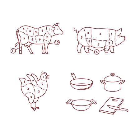 carver: Beef, pork and chicken cut schemes. Frying pan, wok, cooking pot and cutting board with knife. thin line icons vector set isolated on white.