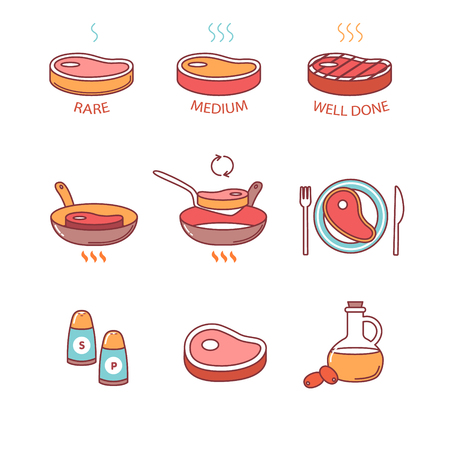 Steak pan frying and cooking icons thin line set. Rare, medium and well done, oil. salt and pepper, meat on the plate. Flat style color vector symbols isolated on white. Illustration