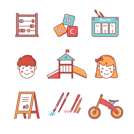 kindergarten education: Kindergarten education icons thin line set. Girl, boy, abacus, abc blocks, calendar, playground slide and other equipment. Flat style color vector symbols isolated on white.
