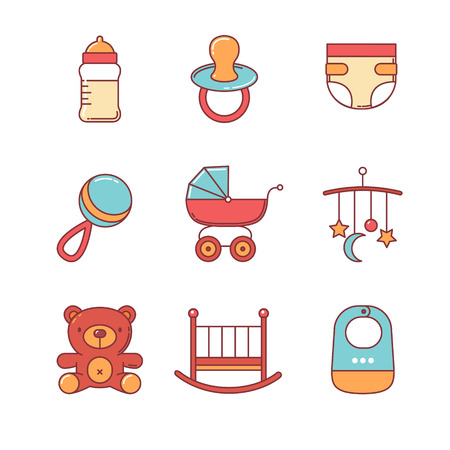 cradle: Baby icons thin line set. Flat style color vector symbols isolated on white.