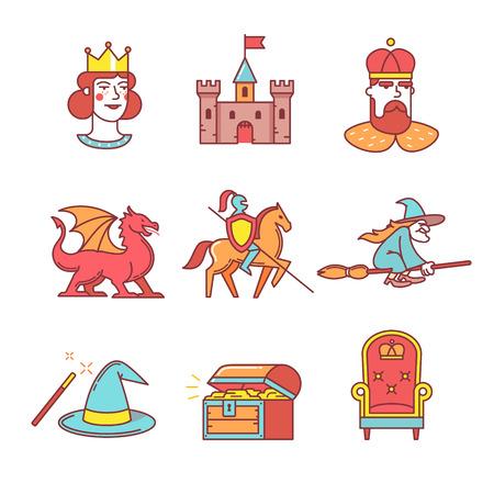 femme a cheval: Fairy tail ic�nes mince ensemble de la ligne. Symboles de vecteur de couleur de style plat d�tour�s sur blanc.