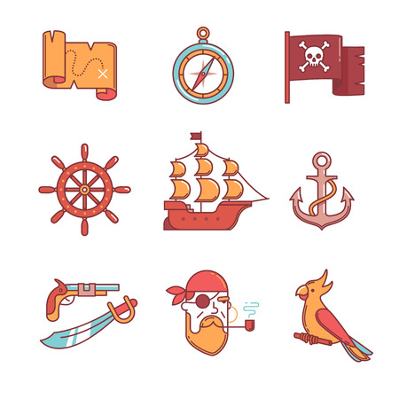 one eyed: Pirate icons thin line set. Flat style color vector symbols isolated on white.