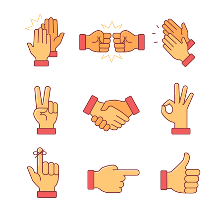 manos: Aplaudiendo manos y otros gestos. Iconos de l�nea delgada. Estilo Flat s�mbolos de vector de color aislados en blanco.