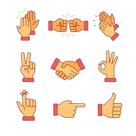 Taper dans les mains et d'autres gestes. D'icônes de lignes minces fixés. Symboles de vecteur de couleur de style plat détourés sur blanc.