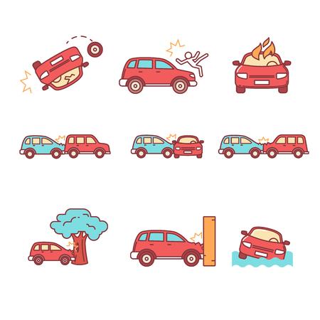 自動車事故や事故。細い線のアイコンを設定します。フラット スタイルの色のベクトル シンボル白で隔離。