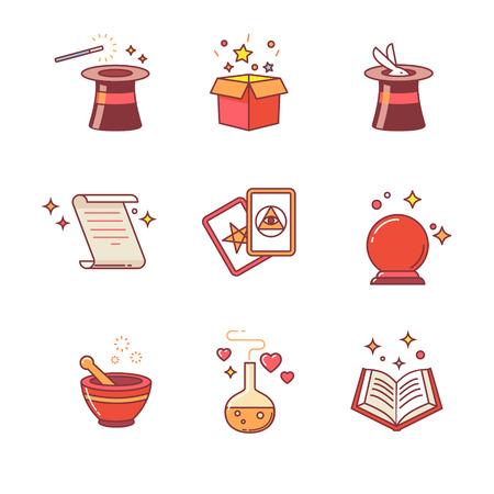 sombrero de mago: Magia y herramientas mago. Iconos de línea delgada. Estilo Flat símbolos de vector de color aislados en blanco.