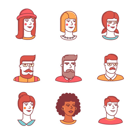 grown ups: Human faces icons thin line set. Hipster characters. Flat style color vector symbols isolated on white.