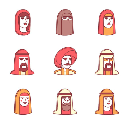 sultan: Arabic and muslim people faces icons thin line set. Flat style color vector symbols isolated on white.