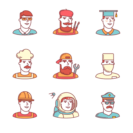 hard cap: People professions paces icons thin line set. Hipster characters. Flat style color vector symbols isolated on white.