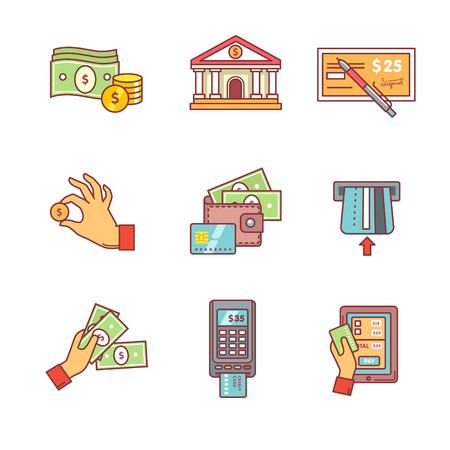 cash machine: Banking icons thin line set. Currency operations, bank building, check, wallet and credit card, paper cash and coins in hands, pos machine. Flat style color vector symbols isolated on white. Illustration