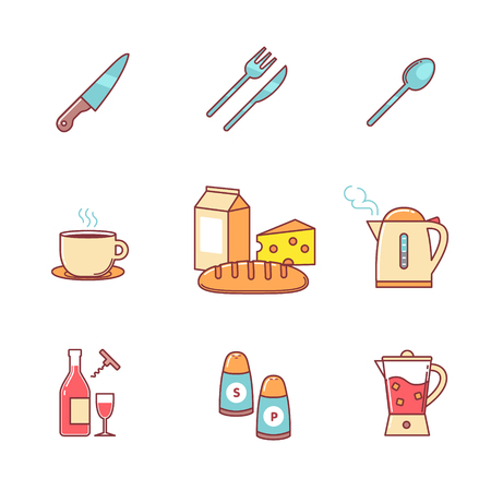 hot water bottle: Food and drink icons thin line set. Flat style color vector symbols isolated on white. Illustration