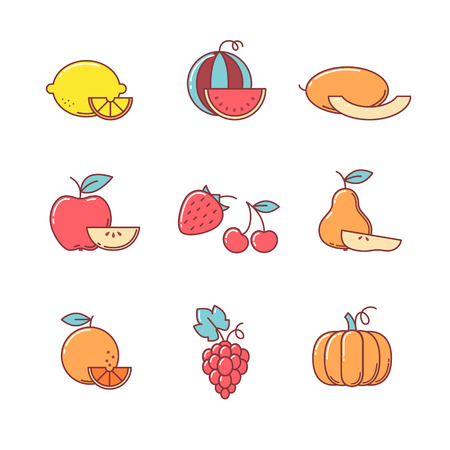 cucurbit: Fruit icons thin line set. Flat style color vector symbols isolated on white.