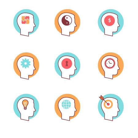 mente humana: La mente humana iconos conjunto de la forma. El pensamiento y proceso mental. Estilo Flat símbolos de vector de color aislados en blanco.