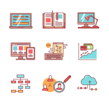 project management: Web and app development, programming and project management icons thin line set. Design process, working desk, prototyping and mockups. Flat style color vector symbols isolated on white.