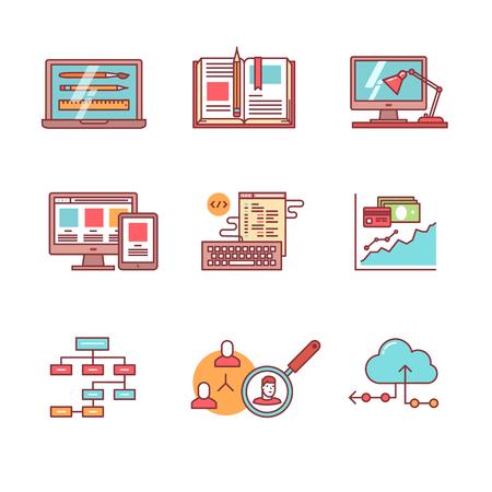 Web- und App-Entwicklung, Programmierung und Projektmanagement-Ikonen dünne Linie gesetzt. Design-Prozess, Schreibtisch, Prototypen und Mockups. Wohnung Stil Farbe Vektor-Symbole isoliert auf weiß. Standard-Bild - 47050490
