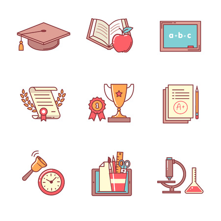 graduation cap: Education icons thin line set. Flat style color vector symbols isolated on white.