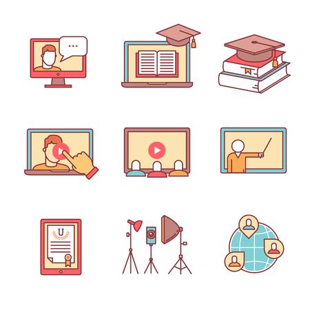 образование: Интернет семинар тонкий набор строки иконок. Вебинар образование и развитие. Квартира в стиле цветных векторных символов, изолированные на белом.