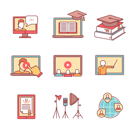 teacher and students: Online seminar icons thin line set. Webinar education and development. Flat style color vector symbols isolated on white.