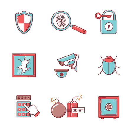 shattered glass: Security and cybersecurity icons thin line set. Flat style color vector symbols isolated on white. Illustration