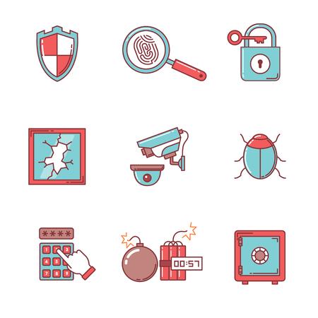 cristal roto: Seguridad y ciberseguridad iconos delgada línea fijadas. Estilo Flat símbolos de vector de color aislados en blanco.