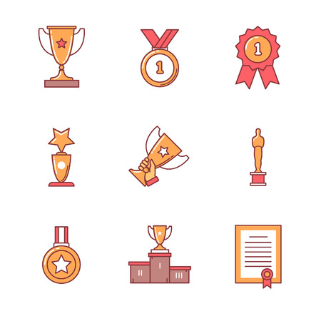 medal: Award winner icons thin line set. Flat style color vector symbols isolated on white.