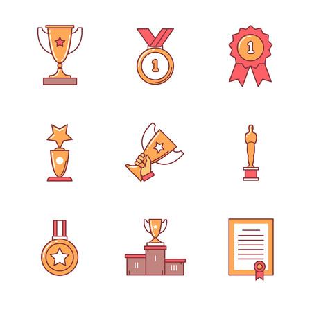 reconocimientos: Ganador del Premio de iconos conjunto de la forma. Estilo Flat símbolos de vector de color aislados en blanco.