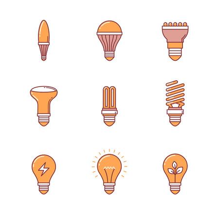 lumen: Light bulb icons thin line set. Flat style color vector symbols isolated on white. Illustration