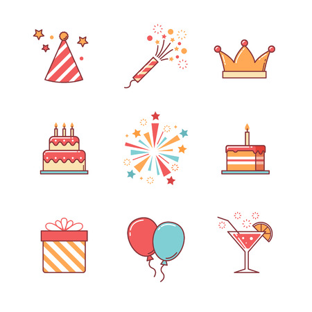 慶典: 生日圖標細線設置。慶祝活動,蛋糕和煙花。平板式的色彩矢量符號被隔絕在白色。