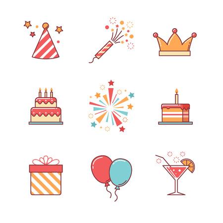 Iconen verjaardag dunne lijn in te stellen. Viering gebeurtenis, cake en vuurwerk. Vlakke stijl kleur vector symbolen op wit wordt geïsoleerd. Stock Illustratie
