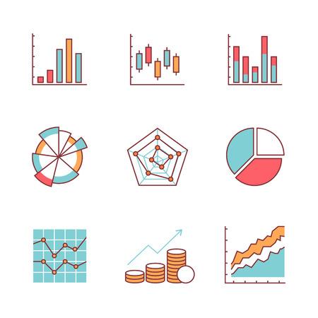 ビジネスのグラフとデータのアイコンは薄い線セットです。フラット スタイルの色のベクトル シンボル白で隔離。