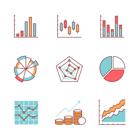 Business charts and data icons thin line set. Flat style color vector symbols isolated on white.
