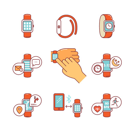 watch: Thin line icons set. Modern smart watches and apps. Tapping smartwatch on hand wrist. Flat style color vector symbols isolated on white.