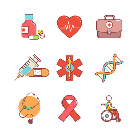genomic: Thin line icons set. Medical, healthcare and health awareness. Flat style color vector symbols isolated on white.