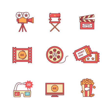 film industry: Movie, film and video icons thin line set. Flat style color vector symbols isolated on white. Illustration