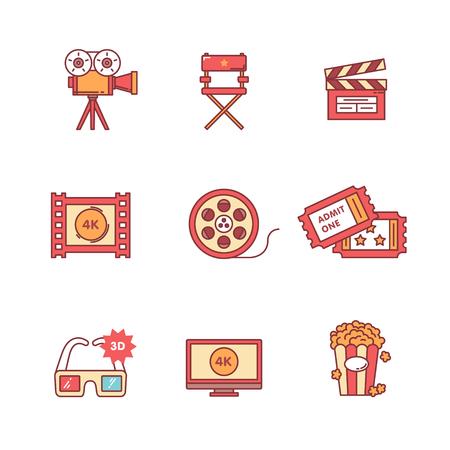 cinta pelicula: Película, cine y vídeo iconos conjunto de la forma. Estilo Flat símbolos de vector de color aislados en blanco.