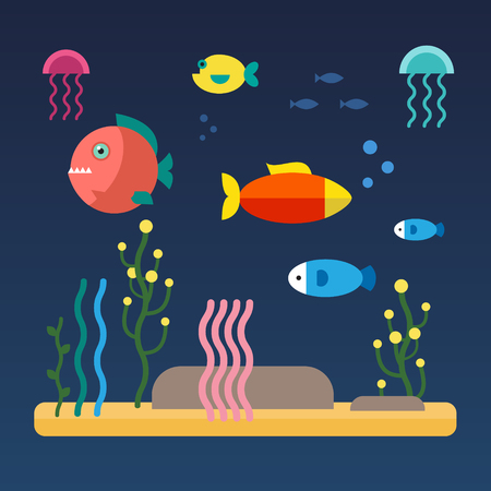 SEA  LANDSCAPE: Fishes swimming at the bottom of the sea. Flat style vector illustration isolated on blue background.