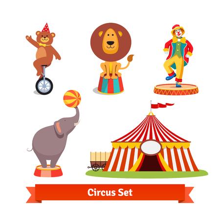 payaso: Los animales de circo, oso en monociclo en sombrero del partido, león, elefante que sostiene la bola en un tronco, payaso y la tienda con el carro. Ilustración vectorial de estilo plano aislado en fondo blanco.
