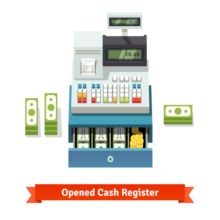 účtenka: Opened cash register with printed receipt, paper money stacks and coins inside the box. Flat style vector illustration isolated on white background.