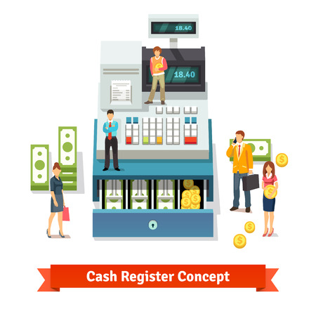 cash register: People standing and holding coins near an opened cash register with printed receipt, paper money stacks and coins inside the box. Flat style vector illustration concept isolated on white background.