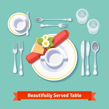 dinner setting: Muy bien servida mesa. Configuraci�n formal de la cena. Aislado ilustraci�n vectorial estilo plano.