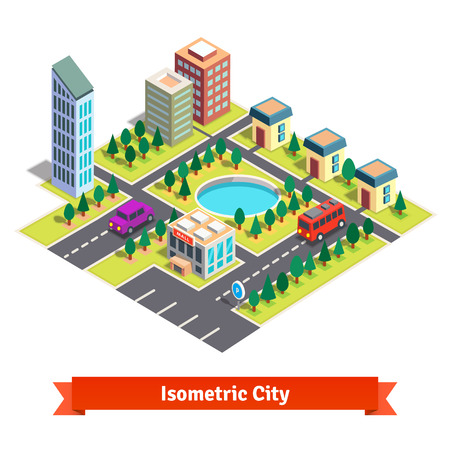 lake district: Isometric city with shopping mall, skyscrapers, residential buildings, park with pond and transportation. Flat style vector illustration isolated on white background.
